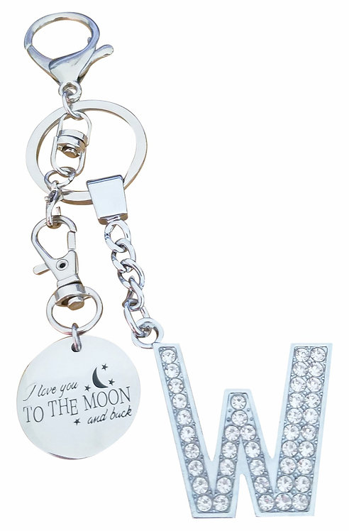 I love you to the moon and back Rhinestone Letter W Key-chain