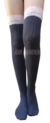 fa247d985d2 Gothic Lolita Cotton Over-Knee Socks(Gray Lace)