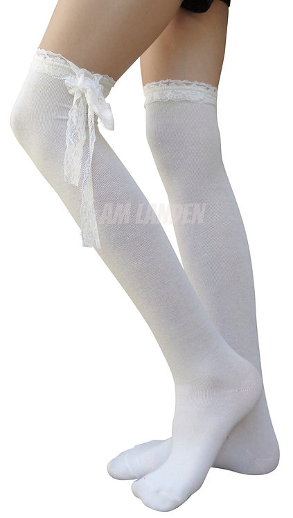 Gothic Lolita Cotton Over-Knee Socks-All WhiteLace