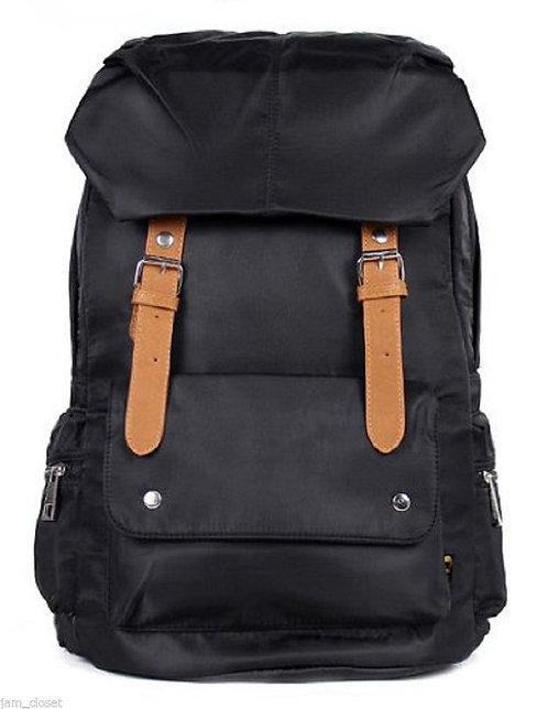 AM Landen Black Soft Silky Nylon Backpack Laptop Bag