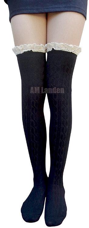 AM Landen Cotton Lace Trim Thigh-Highs (Black)