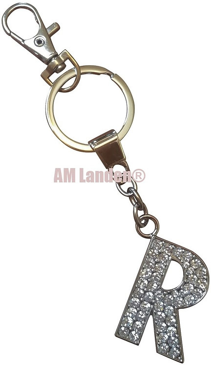 "Rhinestone Bling Crystal Alphabet ""R"" Key-chain"