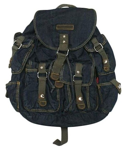 Denim Backpack School Bag Travel Bag(Navy Blue)