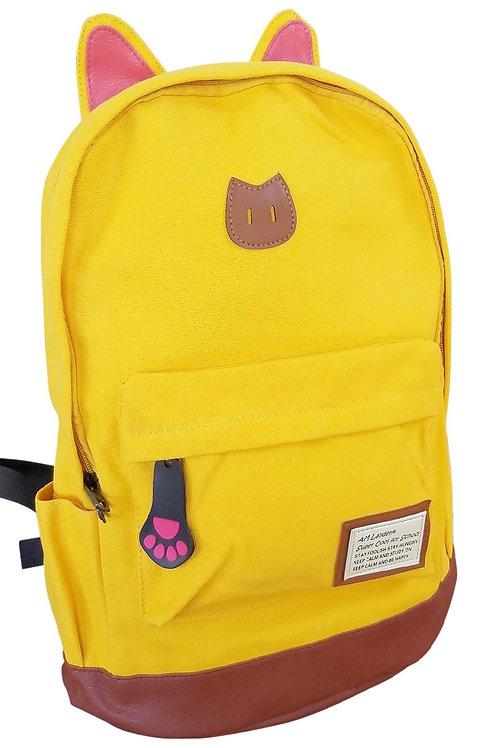 AM Landen Super Cute Yellow Canvas CAT Ears Backpack