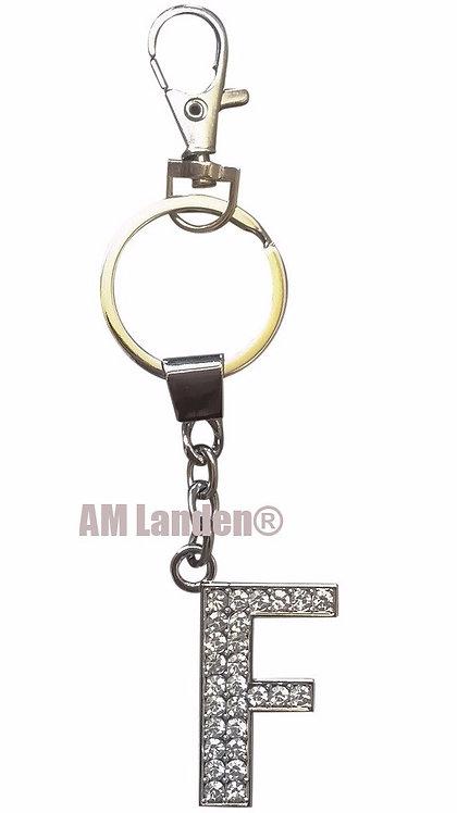 """Rhinestone Bling Crystal Alphabet """"F"""" Key-chain"""