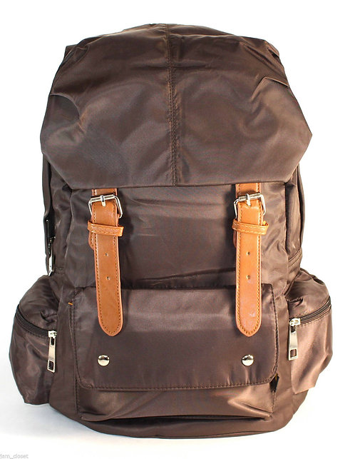 Soft Silky Nylon Backpack Laptop Bag(Brown)