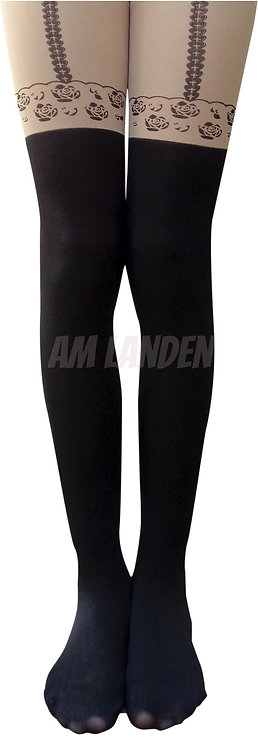 AM Landen Rose Print Mock Thigh-Highs Pantyhose