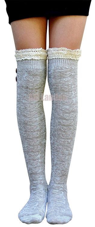 Over-Knee Highs Double Lace Wool Knit Socks(Beige)