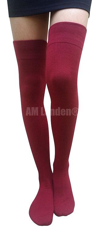 AM Landen Cotton Thigh-Highs Socks(Burgundy)