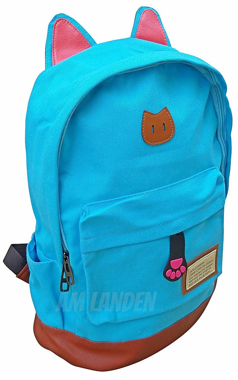 AM Landen Super Cute Teal Blue Canvas CAT Ears Backpack