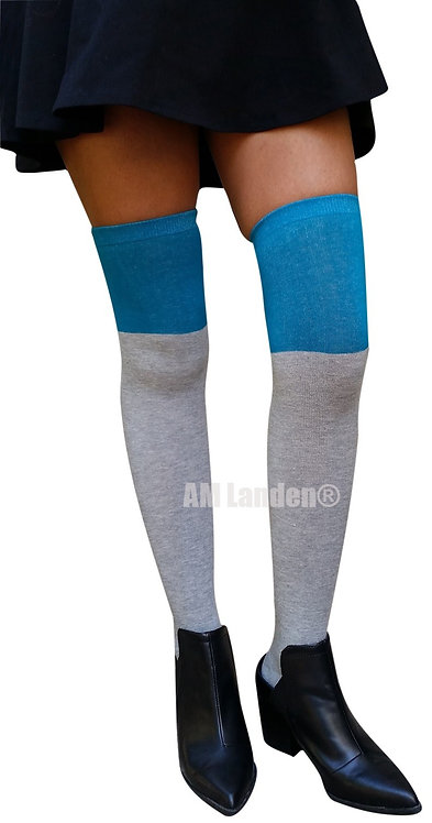 Two Tone Over-Knee Cotton Socks(Gray/Teal)
