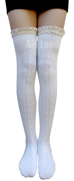 AM Landen Cotton Lace Trim Thigh-Highs (White)