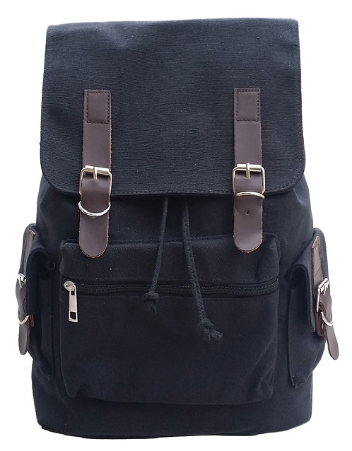 AM Landen Medium Size Canvas Backpack(Black)