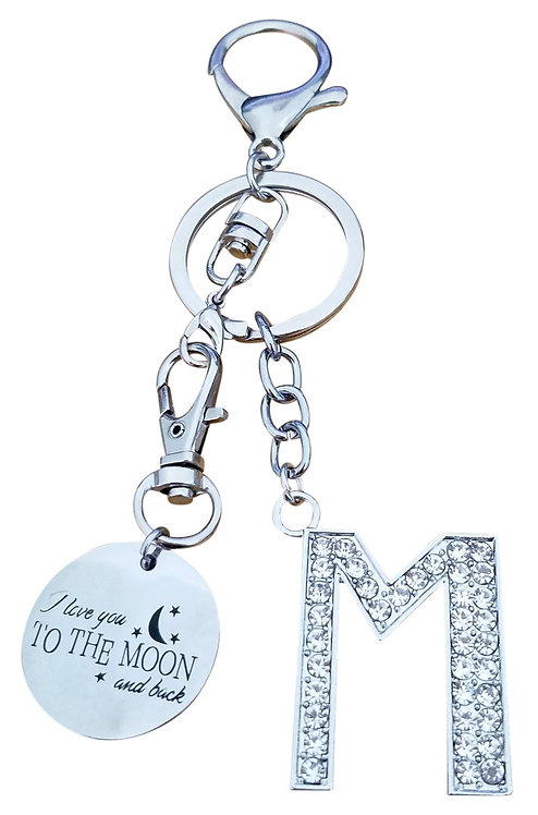 I love you to the moon and back Rhinestone Letter M Key-chain