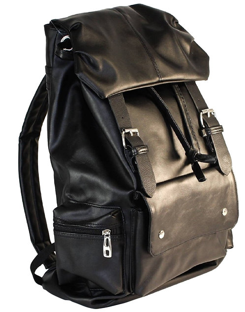 AM Landen Synthetic Soft Leather Backpack(Black)