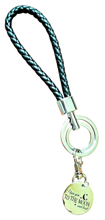 I Love You Black Synthetic Braided Leather Key-Chain