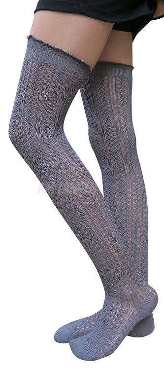AM Landen Cotton Thigh-Highs Knit Socks(Gray)