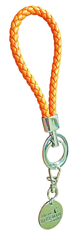 I Love You Orange Synthetic Braided Leather Key-Chain