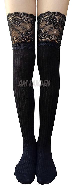 AM Landen Cotton Thigh-Highs Socks(Black/Lace)