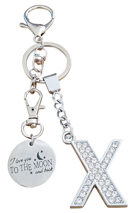 I love you to the moon and back Rhinestone Letter X Key-chain