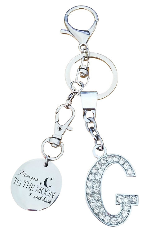 I love you to the moon and back Rhinestone Alphabet G Letter G Key chain