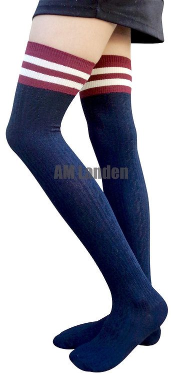 AM Landen Cotton Thigh-Highs Socks(Blue/Stripe)