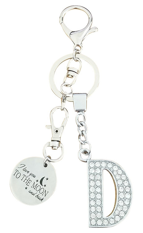 I love you to the moon and back Rhinestone Alphabet D Letter D Key chain