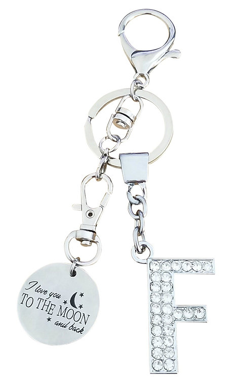 I love you to the moon and back Rhinestone Alphabet F Letter F Key chain