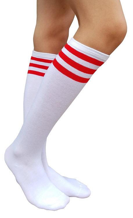 Ladies's Cotton Knee-High Socks(White/Red Stripe)