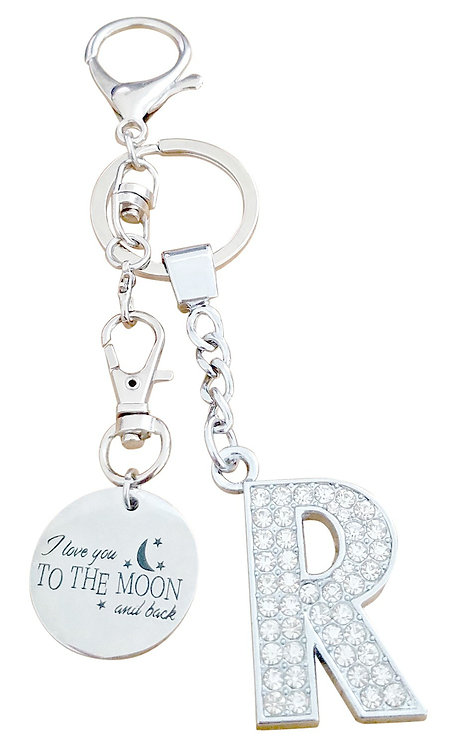 I love you to the moon and back Rhinestone Letter R Key-chain