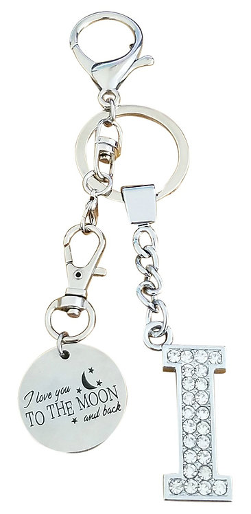 I love you to the moon and back Rhinestone Letter I Key-chain