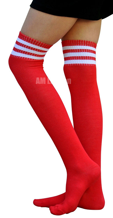 Ladies's Cotton Sport Over-Knee High Socks(Red))