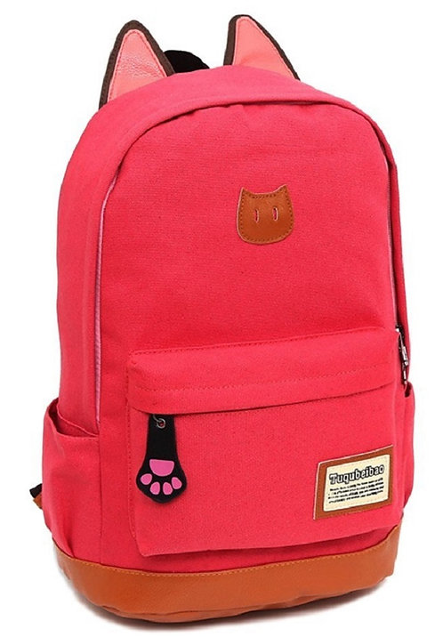 Light Weight Canvas CAT Ears Backpacks(Red)