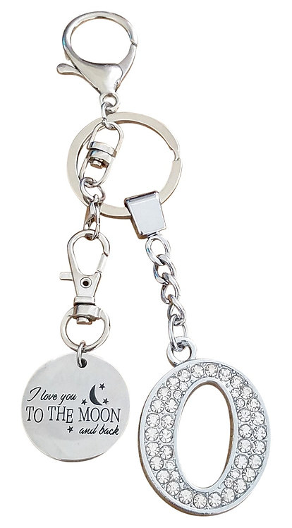 I love you to the moon and back Rhinestone Letter O Key-chain