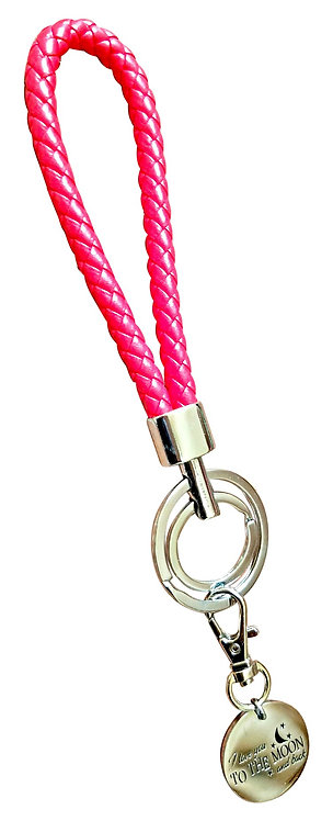 I Love You Red Synthetic Braided Leather Key-Chain