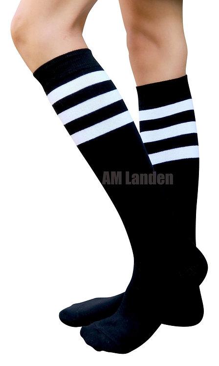 Ladies's Cotton Sport Knee-Highs Socks(Black)