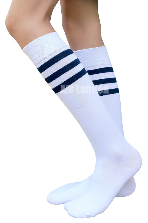 Ladies's Cotton Sport Knee-Highs Socks(White)