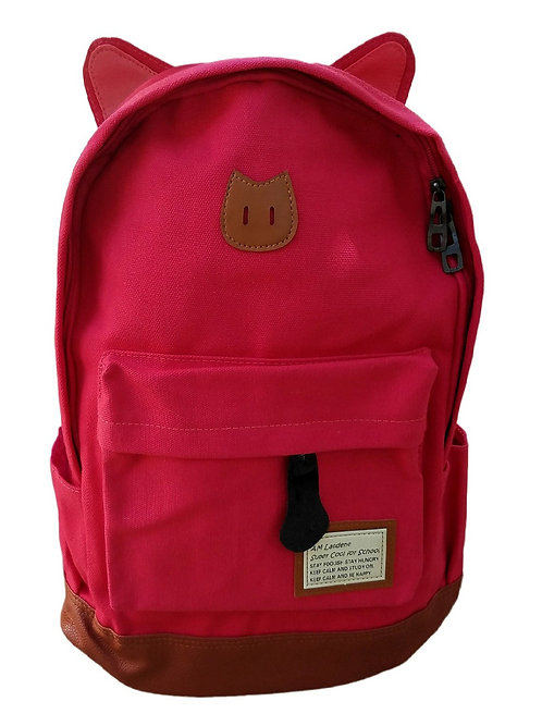 AM Landen Super Cute Red Canvas CAT Ears Backpack