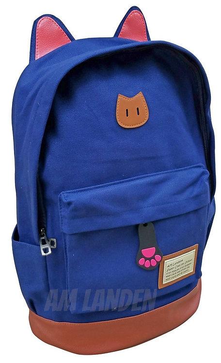 AM Landen Super Cute Navy Blue Canvas CAT Ears Backpack