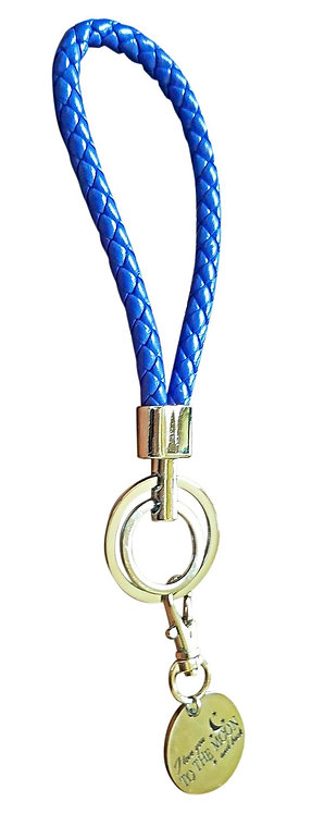 I Love You Blue Synthetic Braided Leather Key-Chain