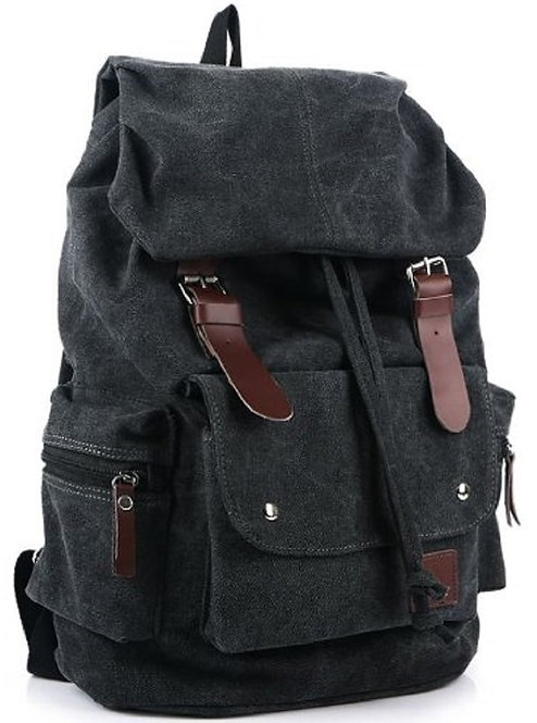 High School Canvas Backpack School Bag(Black)