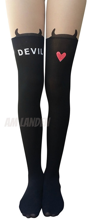 "AM Landen ""Devil"" Mock Thigh-Highs Pantyhose"