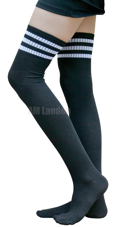 Ladies's Cotton Sport Over-Knee High Socks(Black)