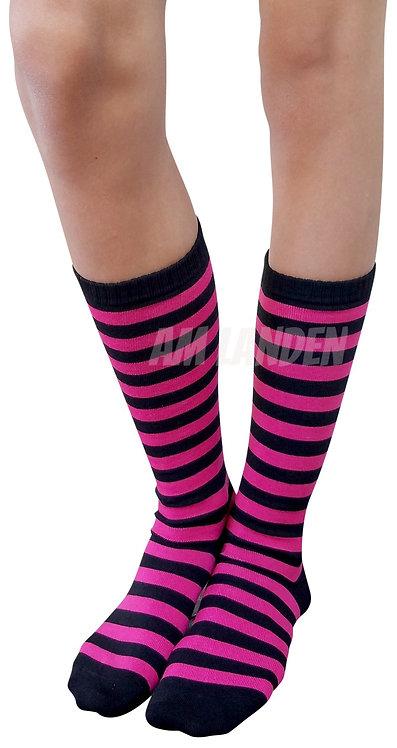 Ladies's Cotton Mid-Calf Socks(Fuchsia/Bk Stripe)