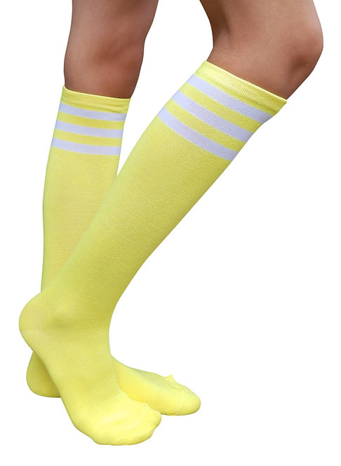 Ladies's Cotton Knee-High Socks(Yellow/WT Stripe)