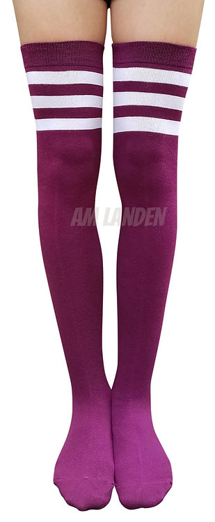 Ladies's Cotton Stripes Over-Knee High(Purple)
