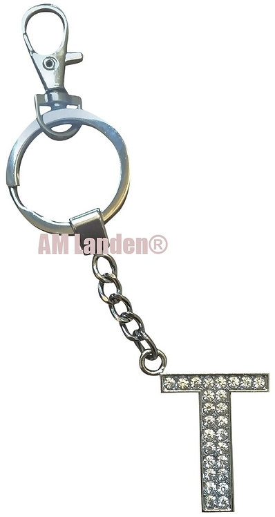 "Rhinestone Bling Crystal Alphabet ""T"" Key-chain"