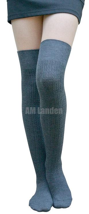Over-Knee Highs Wool Knit Stripe Socks(Gray)