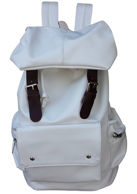 AM Landen Synthetic Soft Leather Backpack(WhiteII)