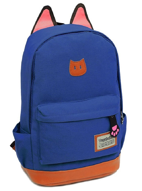 Light Weight Canvas CAT Ears Backpack-Diamond Blue